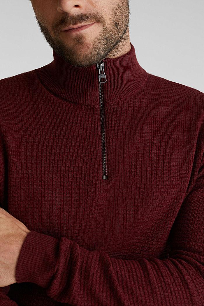 Mit Kaschmir: Sweater aus Strukturstrick, DARK RED, detail image number 2