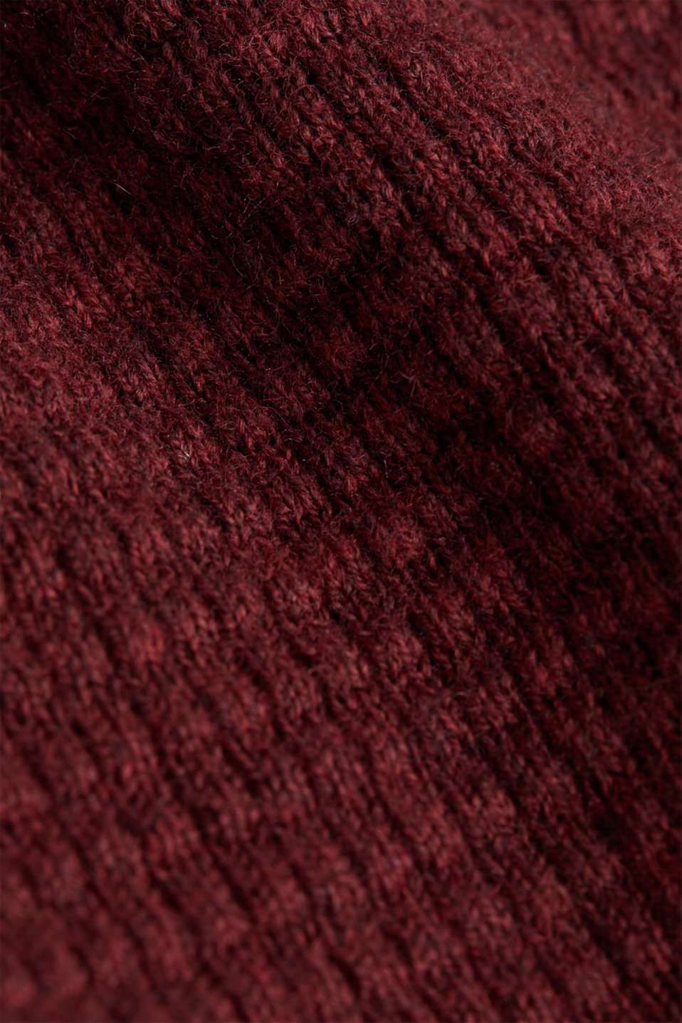With cashmere: Textured knit jumper, DARK RED, detail image number 4