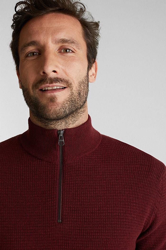 Mit Kaschmir: Sweater aus Strukturstrick, DARK RED, detail image number 5