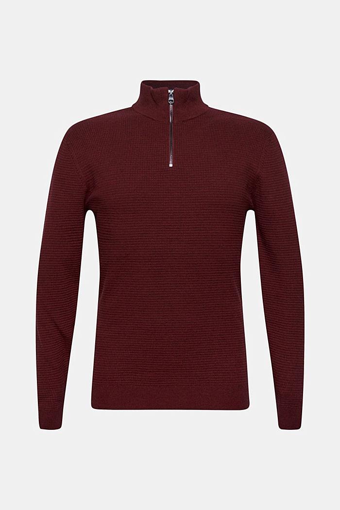 Mit Kaschmir: Sweater aus Strukturstrick, DARK RED, detail image number 6