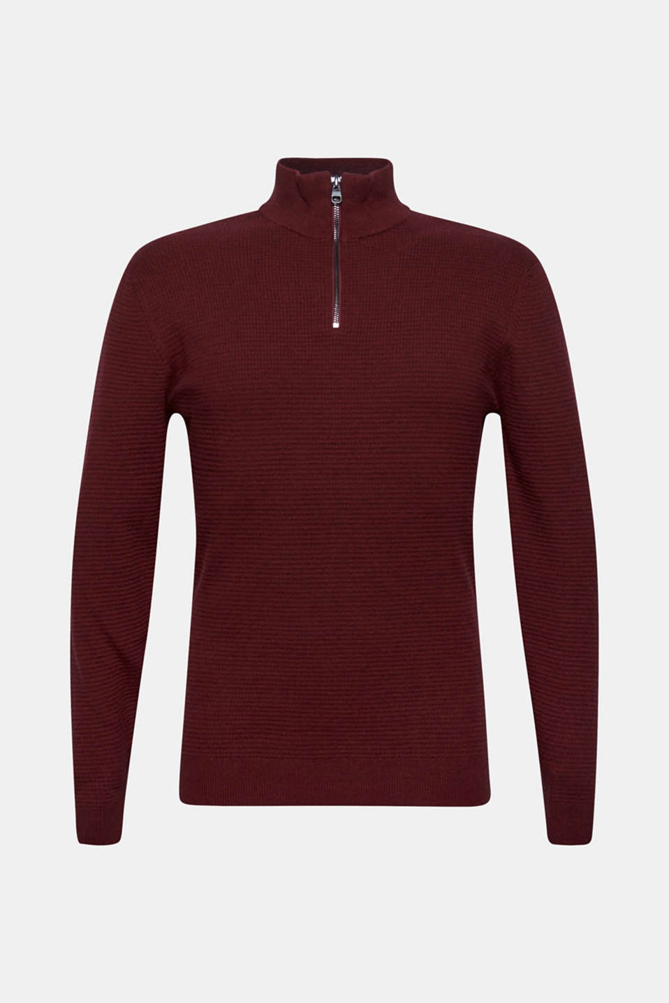 With cashmere: Textured knit jumper, DARK RED, detail image number 6