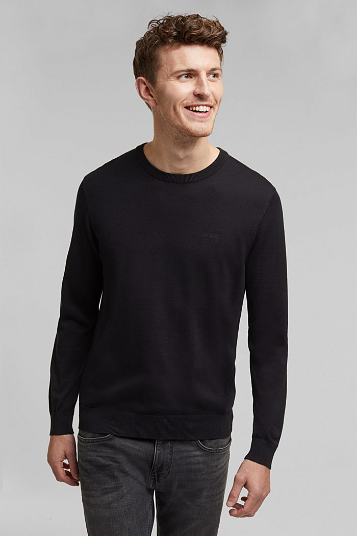 Jumper with a round neckline, 100% cotton