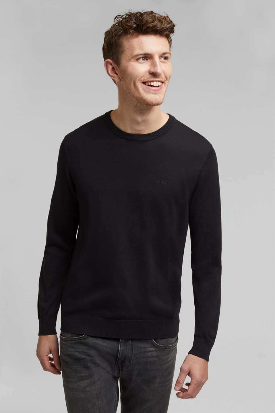 Jumper with a round neckline, 100% cotton, BLACK, detail image number 0