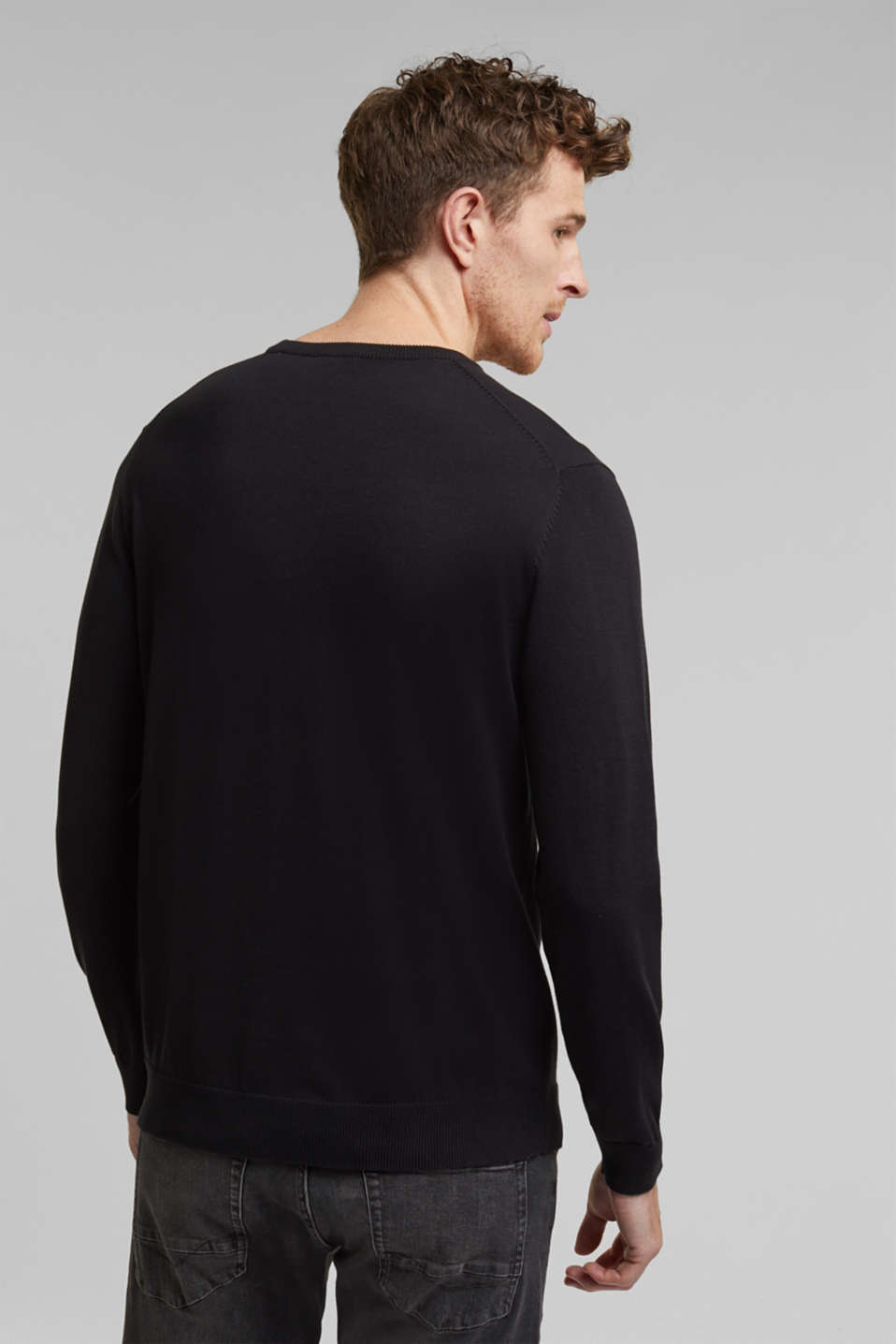 Jumper with a round neckline, 100% cotton, BLACK, detail image number 3