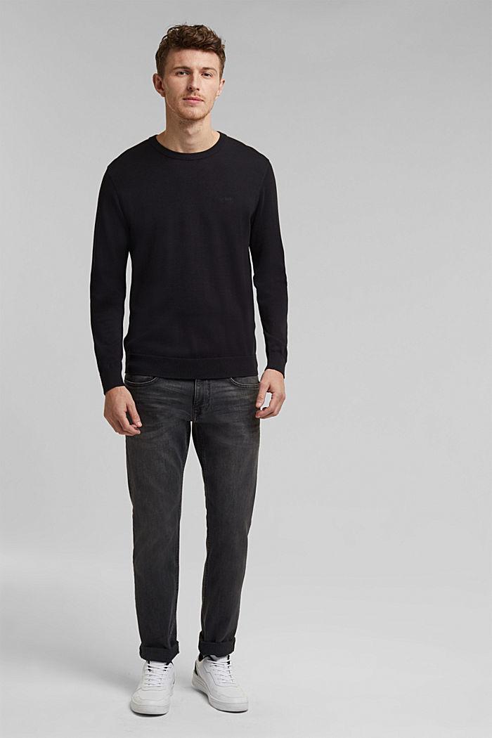 Jumper with a round neckline, 100% cotton, BLACK, detail image number 1