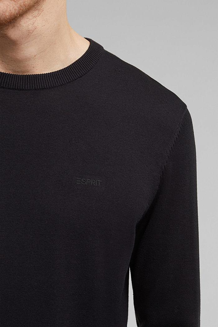 Pullover mit Rundhals-Ausschnitt, 100% Baumwolle, BLACK, detail image number 2
