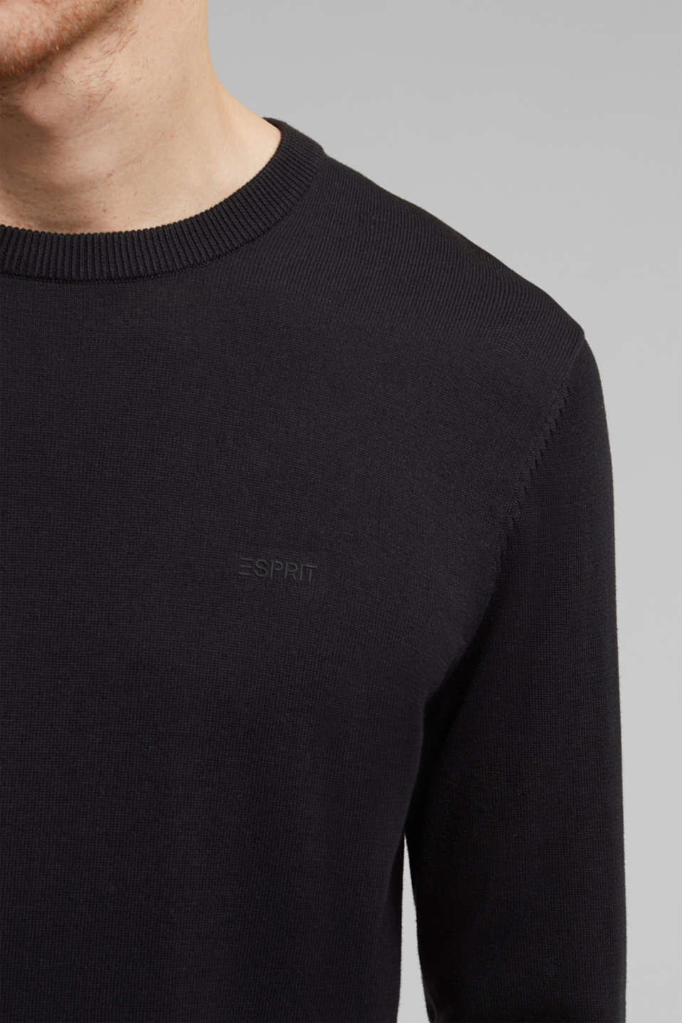 Jumper with a round neckline, 100% cotton, BLACK, detail image number 2