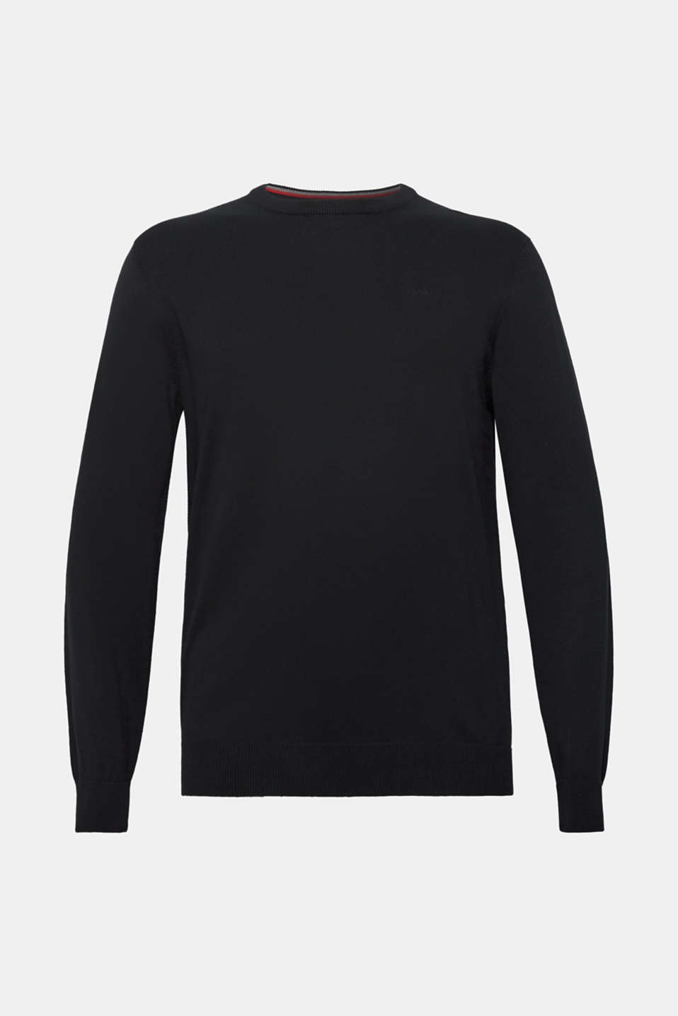 Jumper with a round neckline, 100% cotton, BLACK, detail image number 6