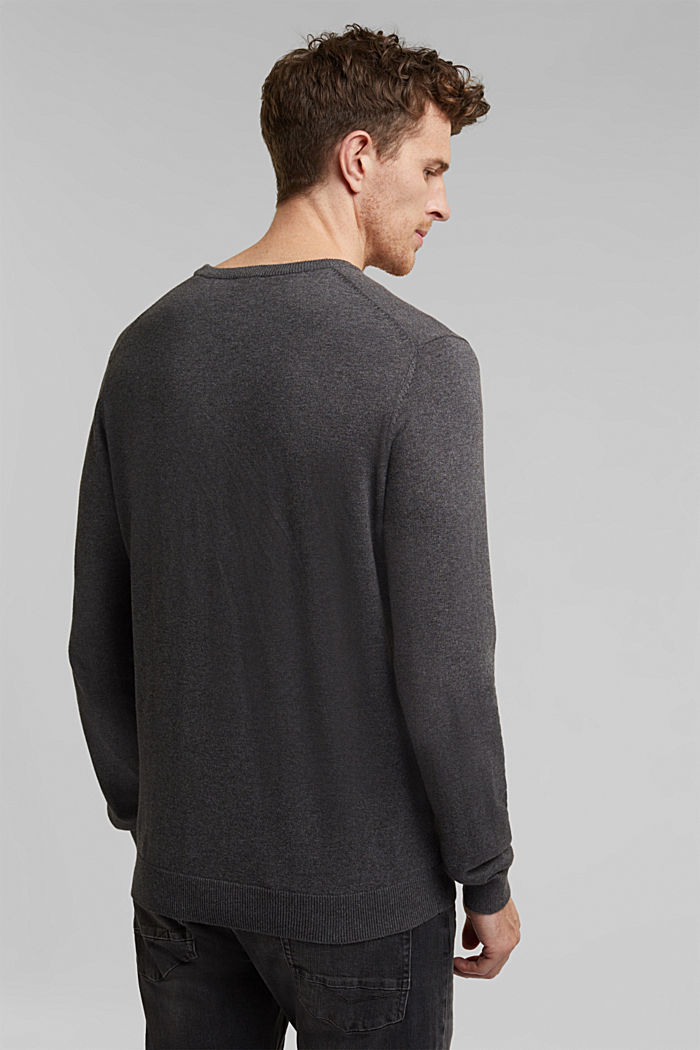 Jumper with a round neckline, 100% cotton, DARK GREY, detail image number 3