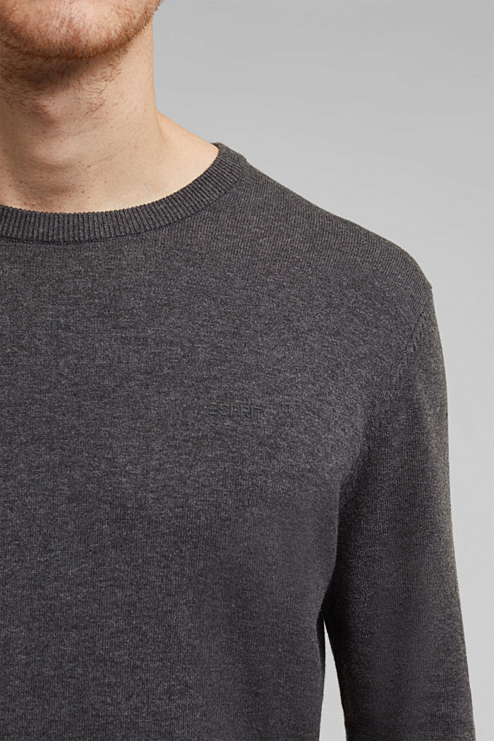 Jumper with a round neckline, 100% cotton, DARK GREY, detail image number 2