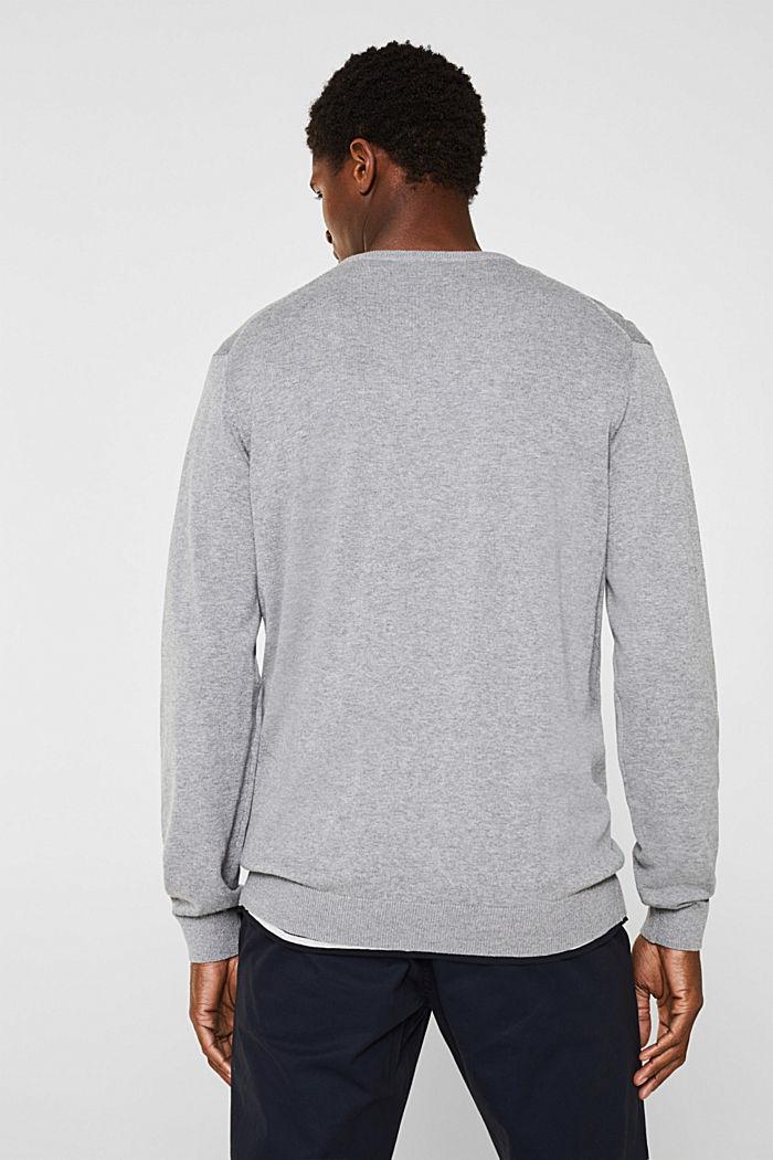 Jumper with a round neckline, 100% cotton, GREY, detail image number 3