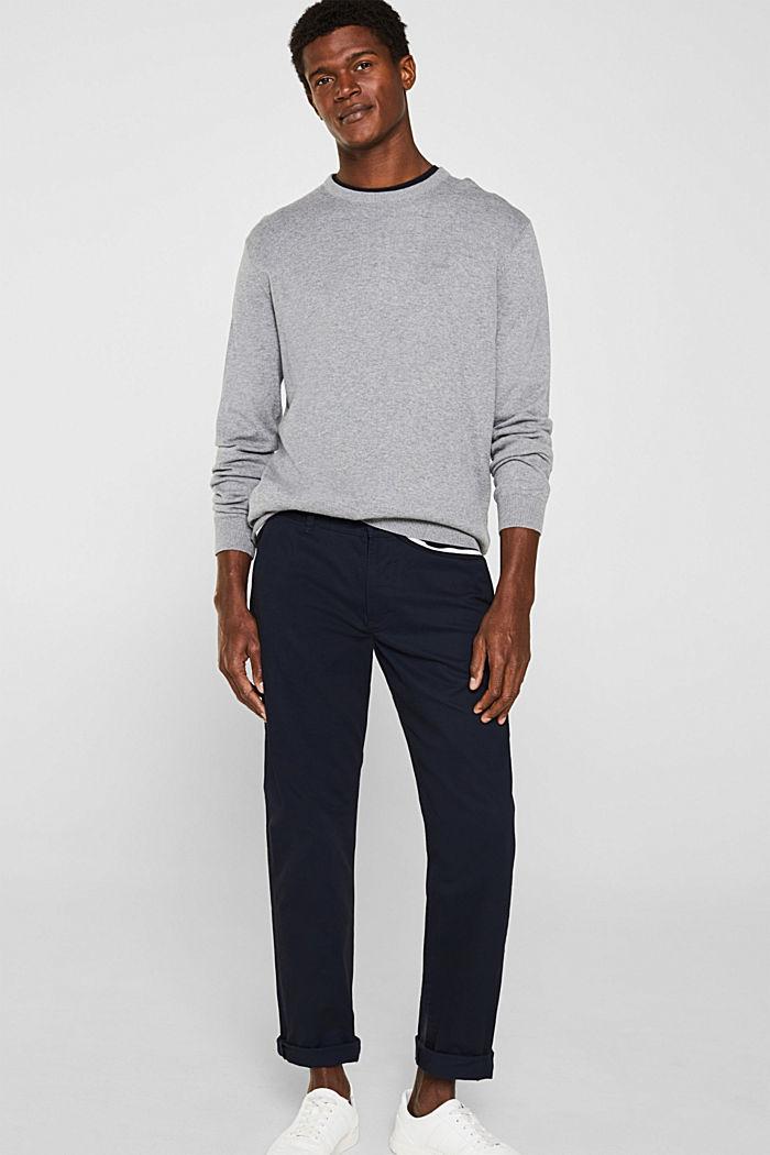 Jumper with a round neckline, 100% cotton, GREY, detail image number 1