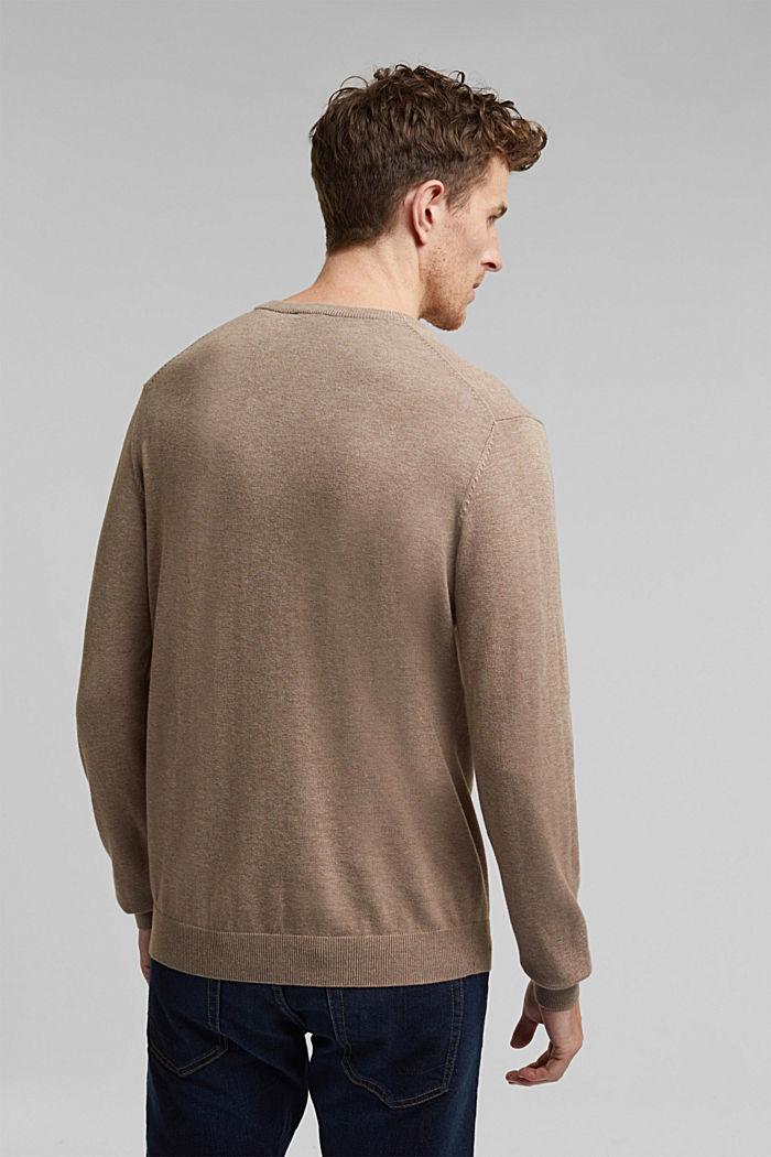Jumper with a round neckline, 100% cotton, BEIGE, detail image number 3
