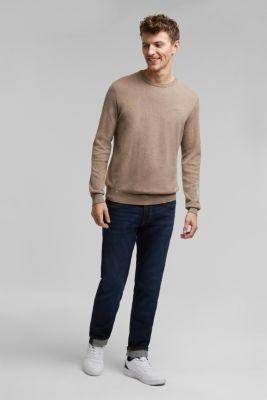 Jumper with a round neckline, 100% cotton, BEIGE, detail