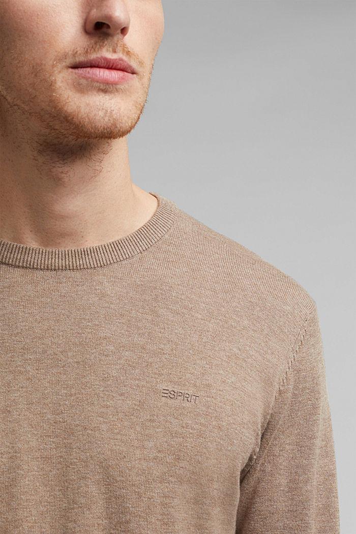 Jumper with a round neckline, 100% cotton, BEIGE, detail image number 2
