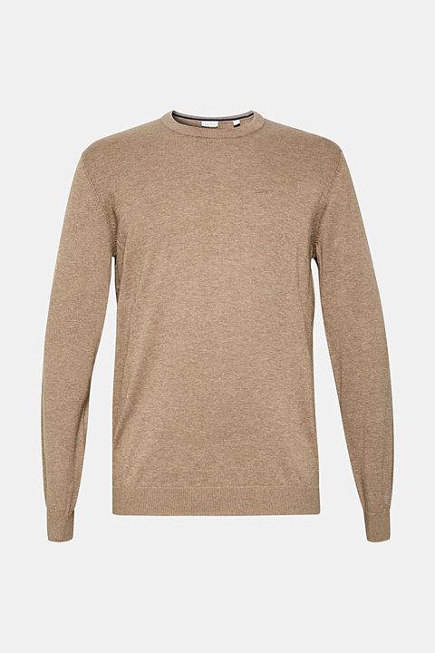 Jumper with a round neckline, 100% cotton