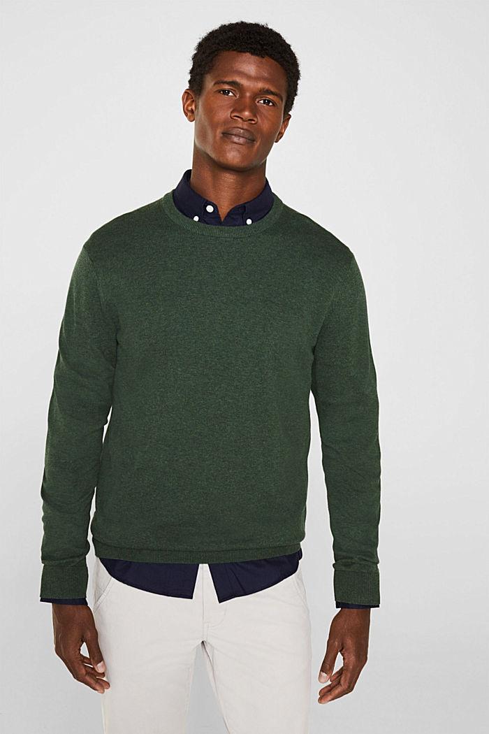 Pullover mit Rundhals-Ausschnitt, 100% Baumwolle, DARK GREEN, detail image number 0