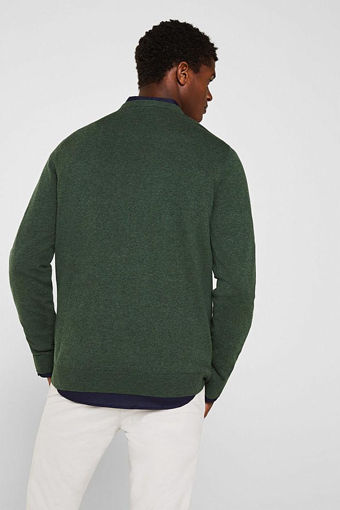 Pullover mit Rundhals-Ausschnitt, 100% Baumwolle, DARK GREEN, detail image number 3