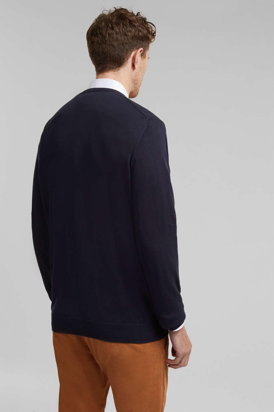 Jumper with a round neckline, 100% cotton, NAVY, detail image number 3