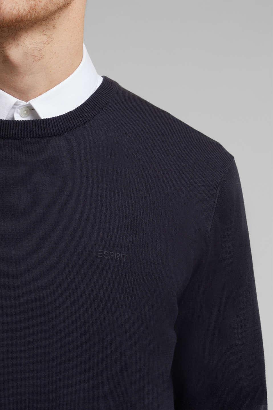 Jumper with a round neckline, 100% cotton, NAVY, detail image number 2