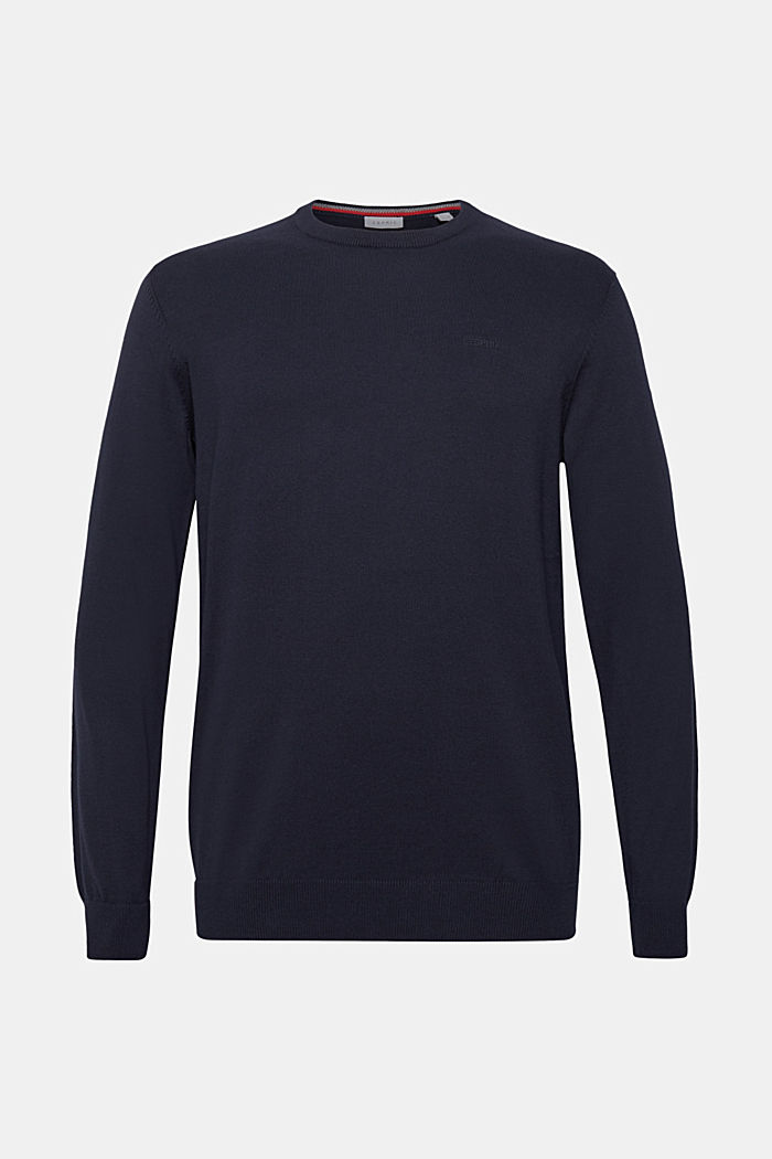 Jumper with a round neckline, 100% cotton, NAVY, detail image number 5