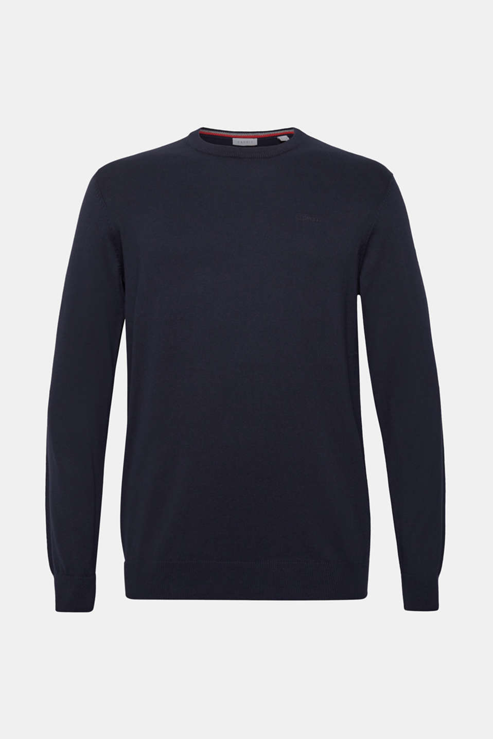 Jumper with a round neckline, 100% cotton, NAVY, detail image number 6