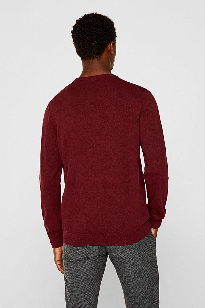 Jumper with a round neckline, 100% cotton, DARK RED, detail image number 3