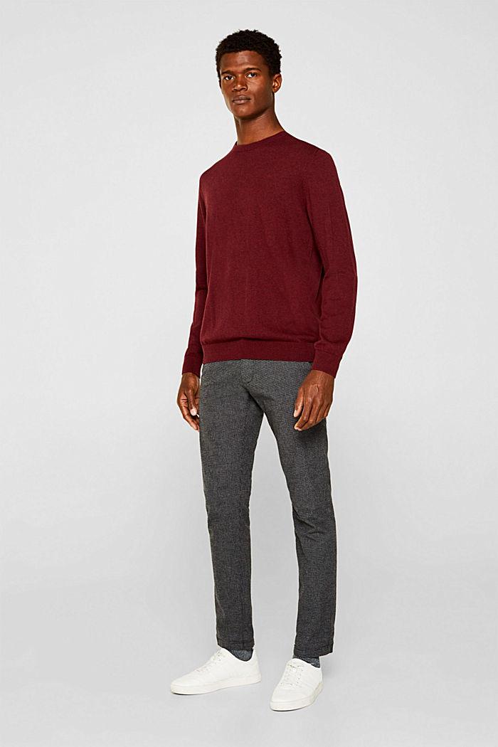 Jumper with a round neckline, 100% cotton, DARK RED, detail image number 1