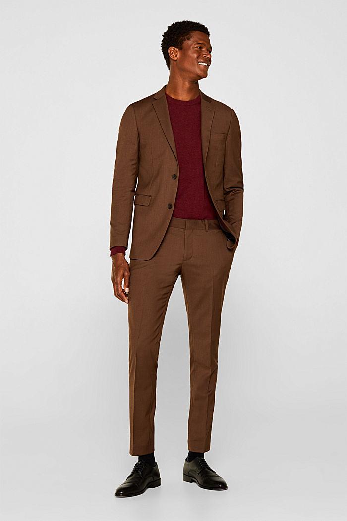 Jumper with a round neckline, 100% cotton, DARK RED, detail image number 6