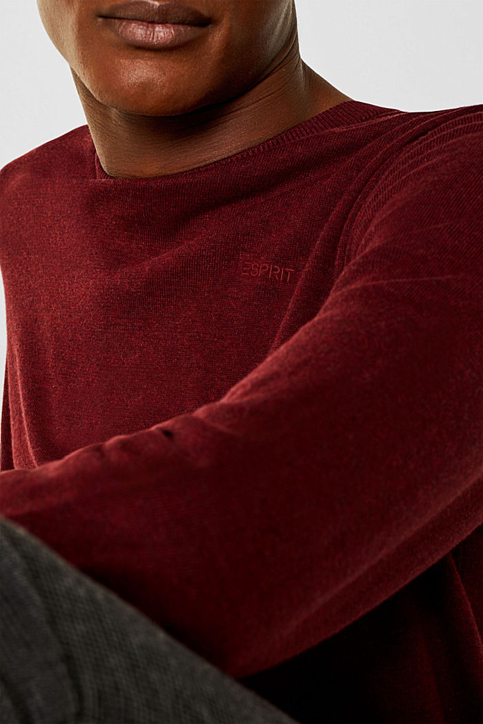 Jumper with a round neckline, 100% cotton, DARK RED, detail image number 2