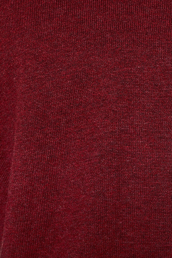Jumper with a round neckline, 100% cotton, DARK RED, detail image number 4
