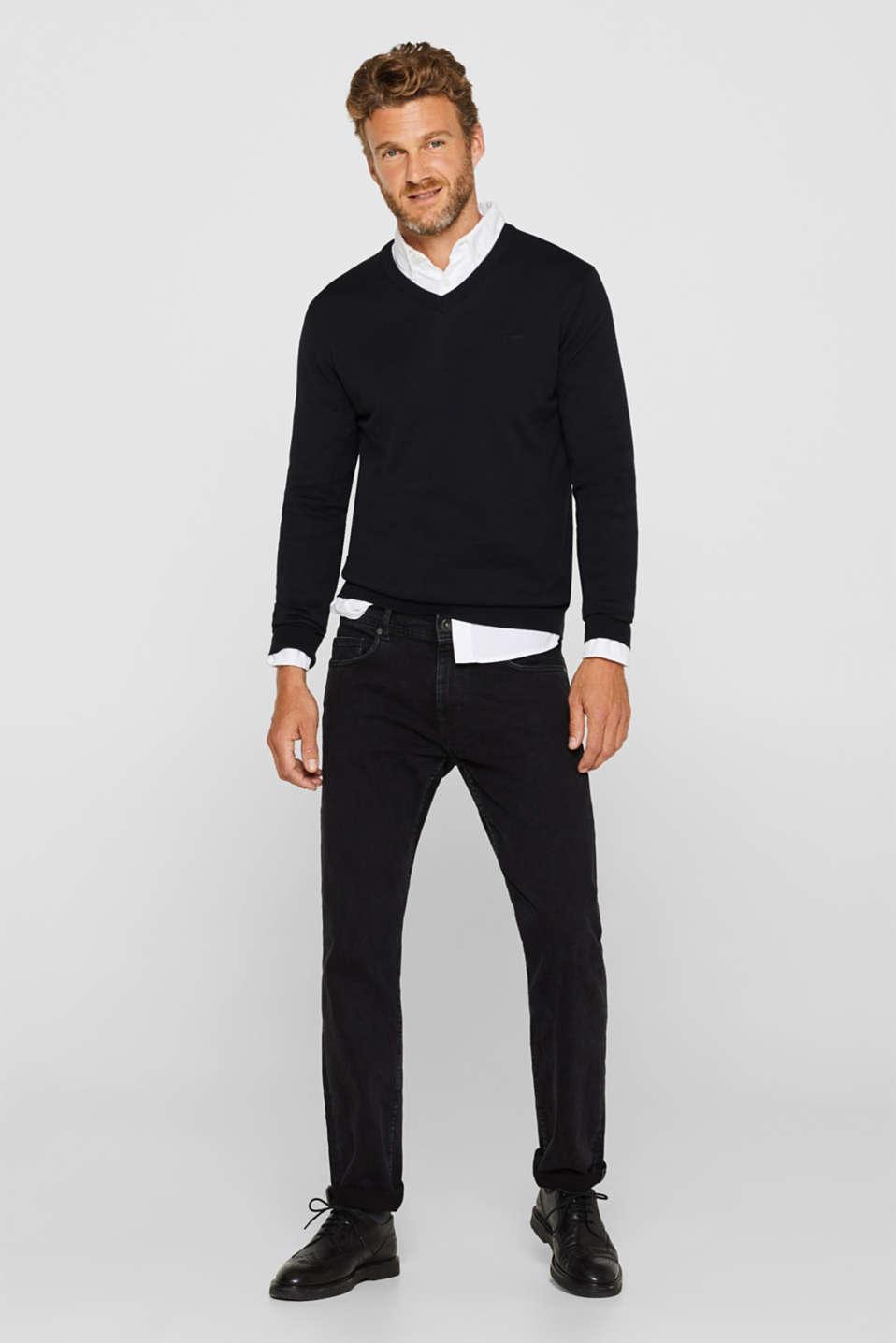 V-neck jumper, 100% cotton, BLACK, detail image number 1