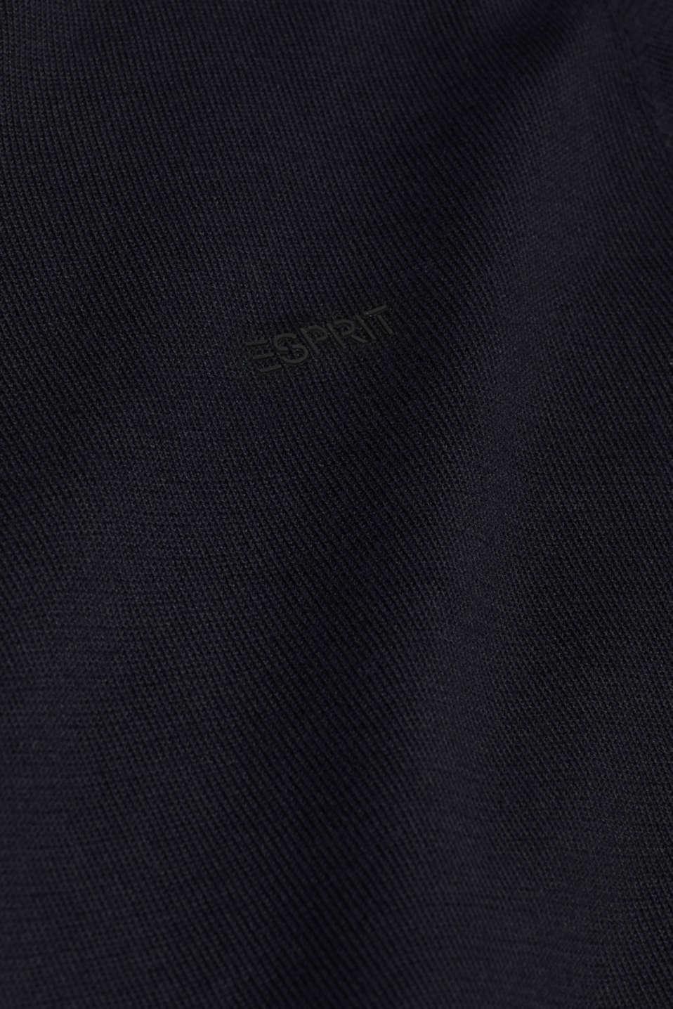 V-neck jumper, 100% cotton, BLACK, detail image number 4