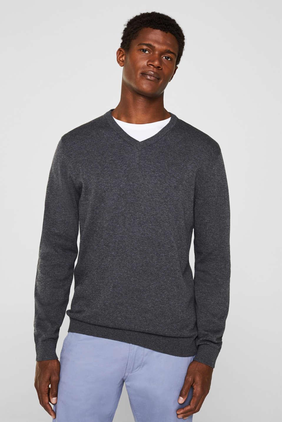 V-neck jumper, 100% cotton, DARK GREY, detail image number 0