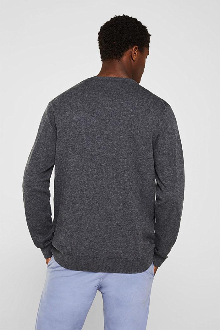 V-Neck-Pullover, 100% Baumwolle, DARK GREY, detail image number 3