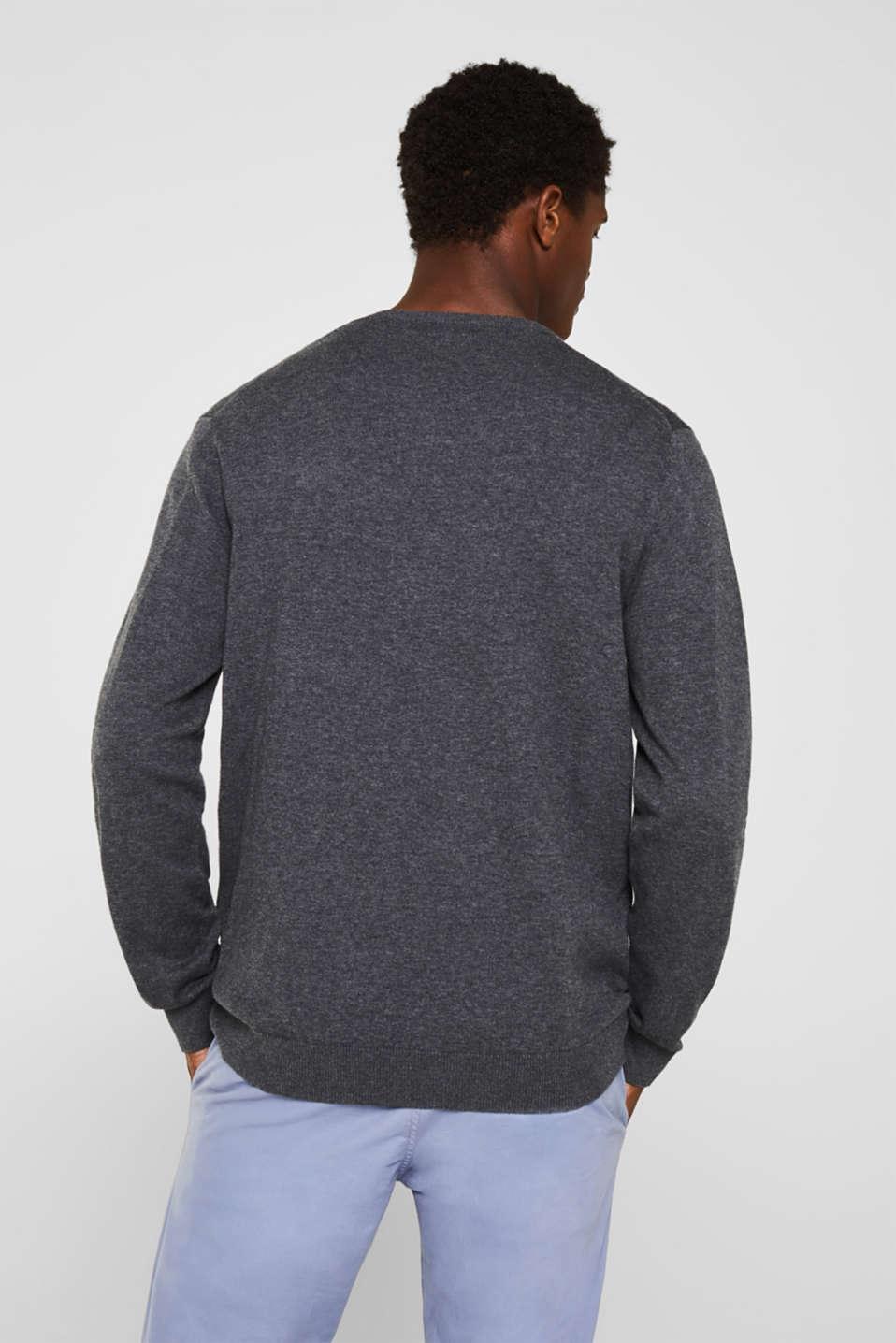 V-neck jumper, 100% cotton, DARK GREY, detail image number 3