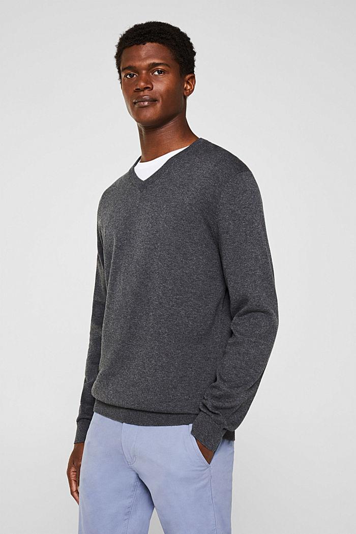 V-Neck-Pullover, 100% Baumwolle, DARK GREY, detail image number 6