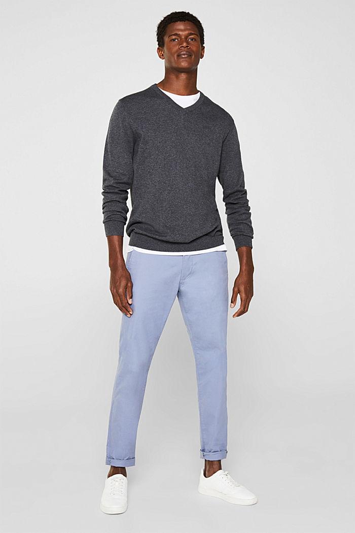 V-Neck-Pullover, 100% Baumwolle, DARK GREY, detail image number 1