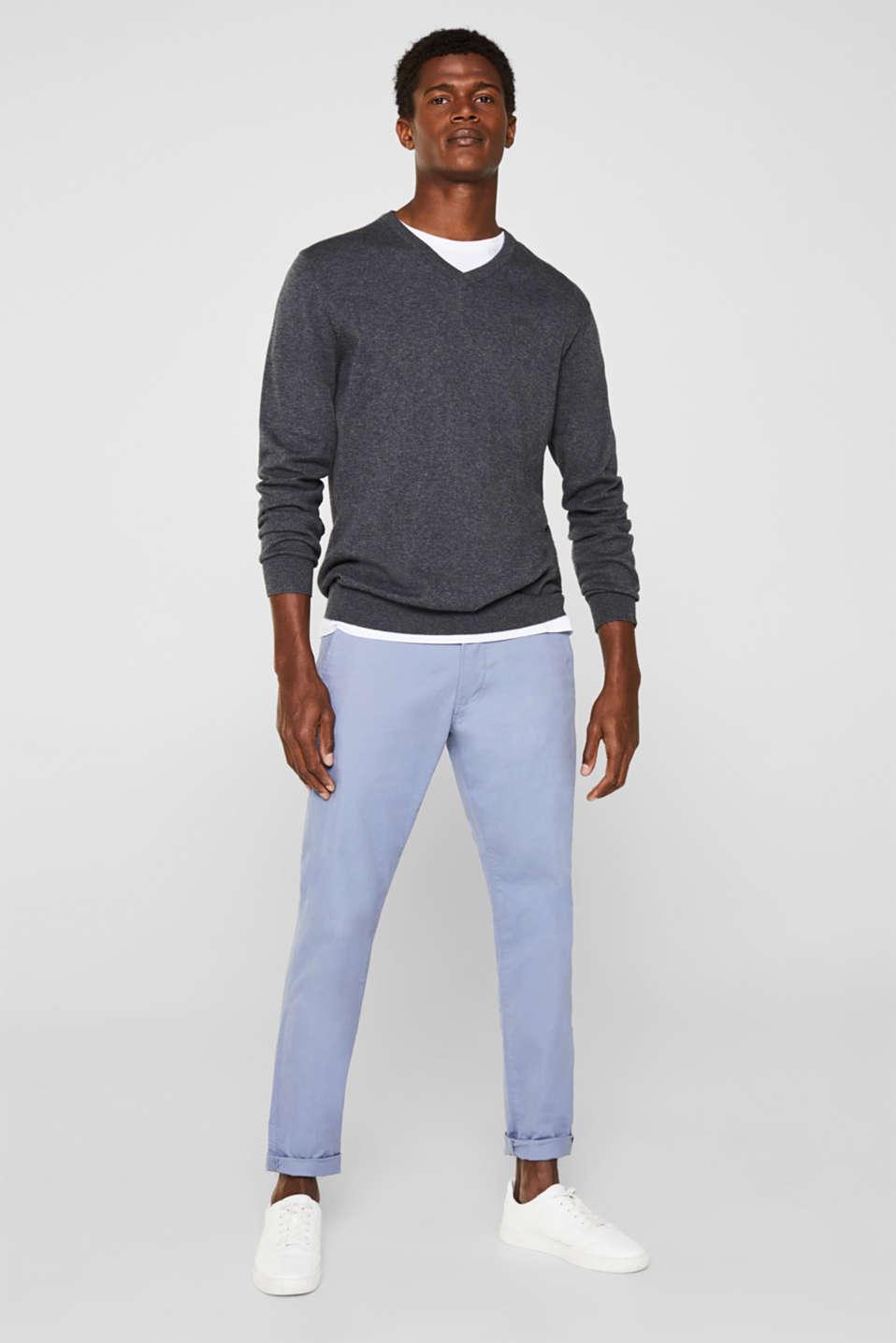V-neck jumper, 100% cotton, DARK GREY, detail image number 1