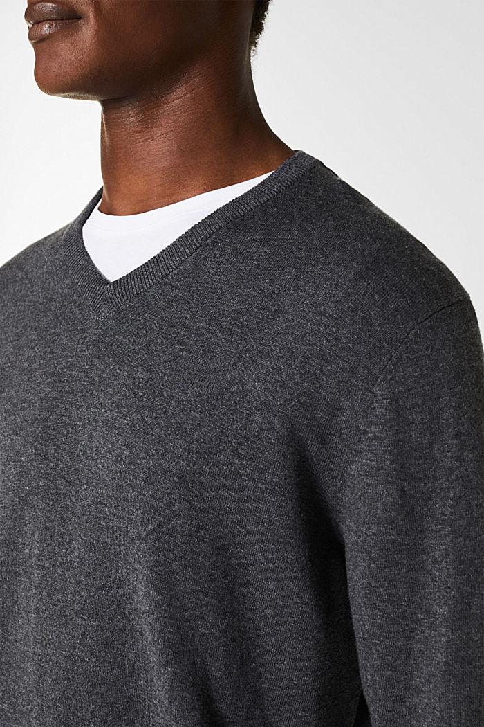 V-neck jumper, 100% cotton, DARK GREY, detail image number 2