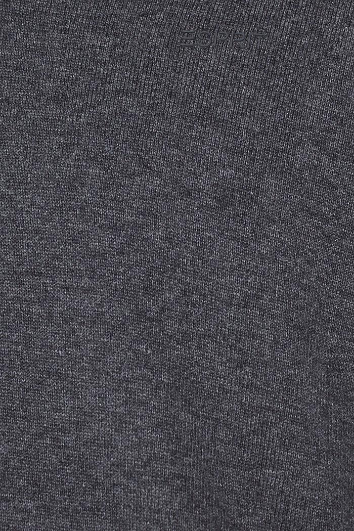 V-Neck-Pullover, 100% Baumwolle, DARK GREY, detail image number 4