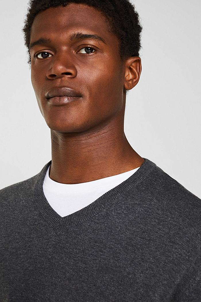 V-neck jumper, 100% cotton, DARK GREY, detail image number 5