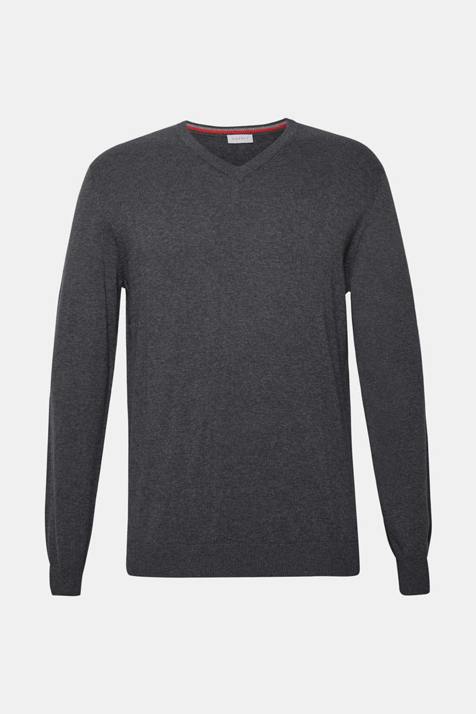 V-neck jumper, 100% cotton, DARK GREY, detail image number 7