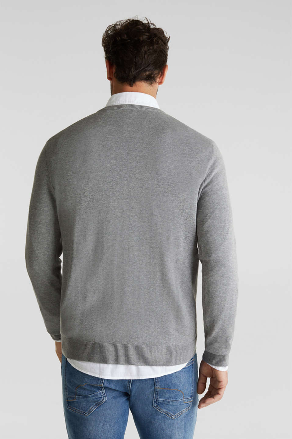 V-neck jumper, 100% cotton, GREY, detail image number 2