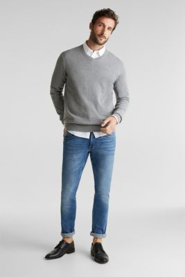 V-neck jumper, 100% cotton, GREY, detail
