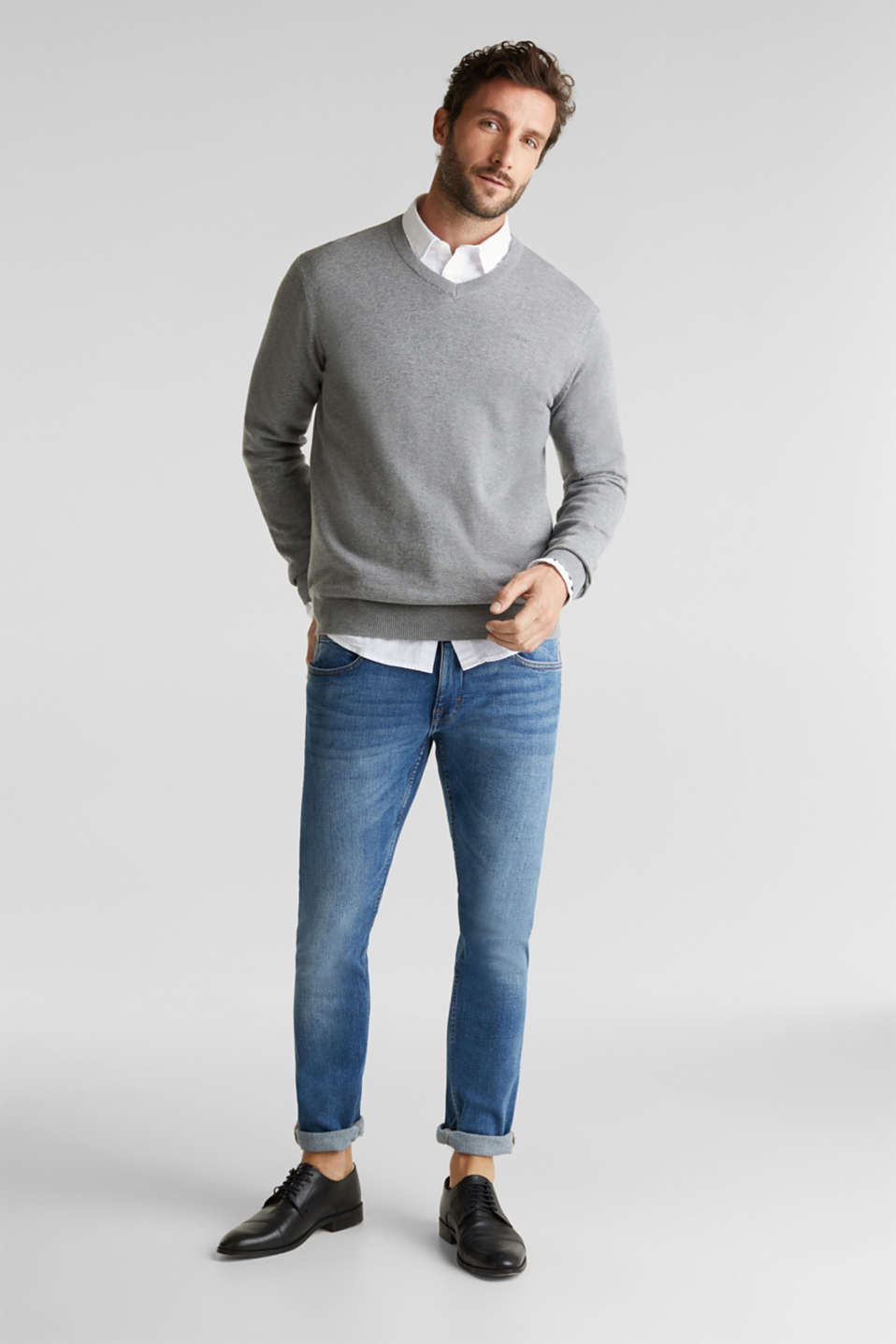 V-neck jumper, 100% cotton, GREY, detail image number 1