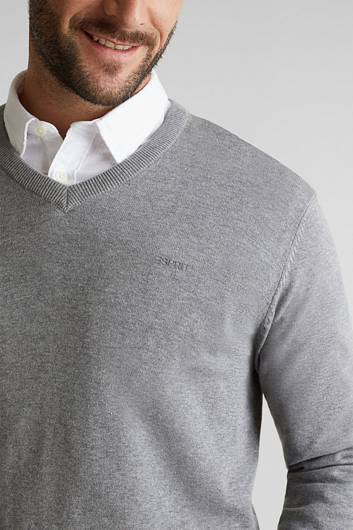 V-Neck-Pullover, 100% Baumwolle, GREY, detail image number 2