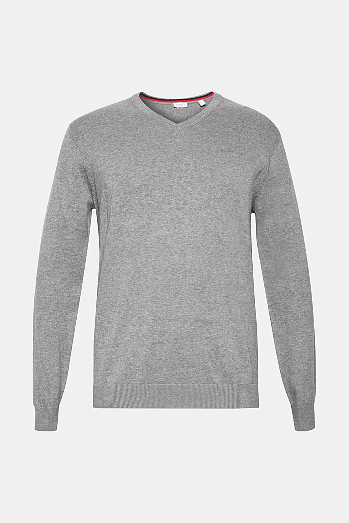V-Neck-Pullover, 100% Baumwolle, GREY, detail image number 5
