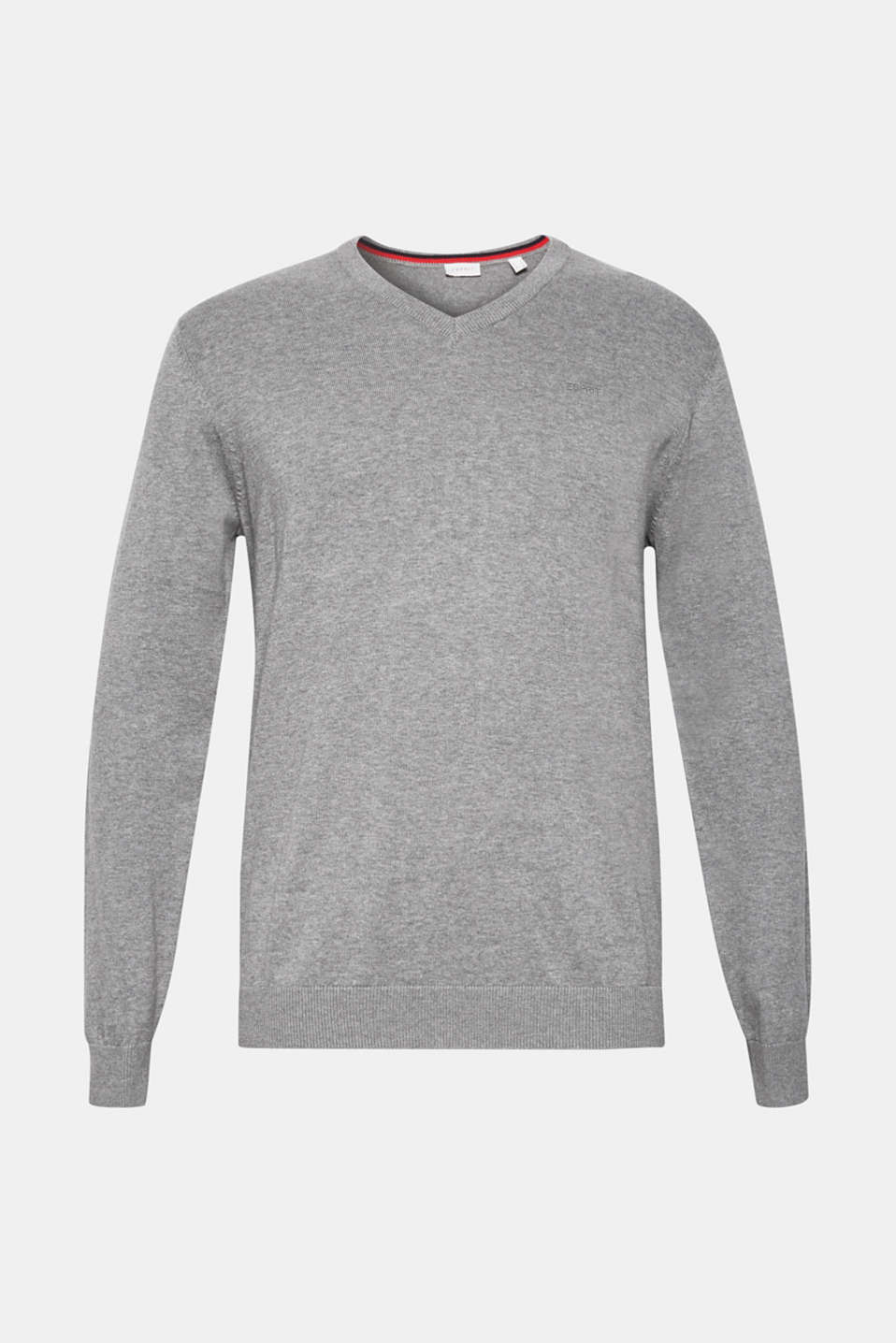 V-neck jumper, 100% cotton, GREY, detail image number 5