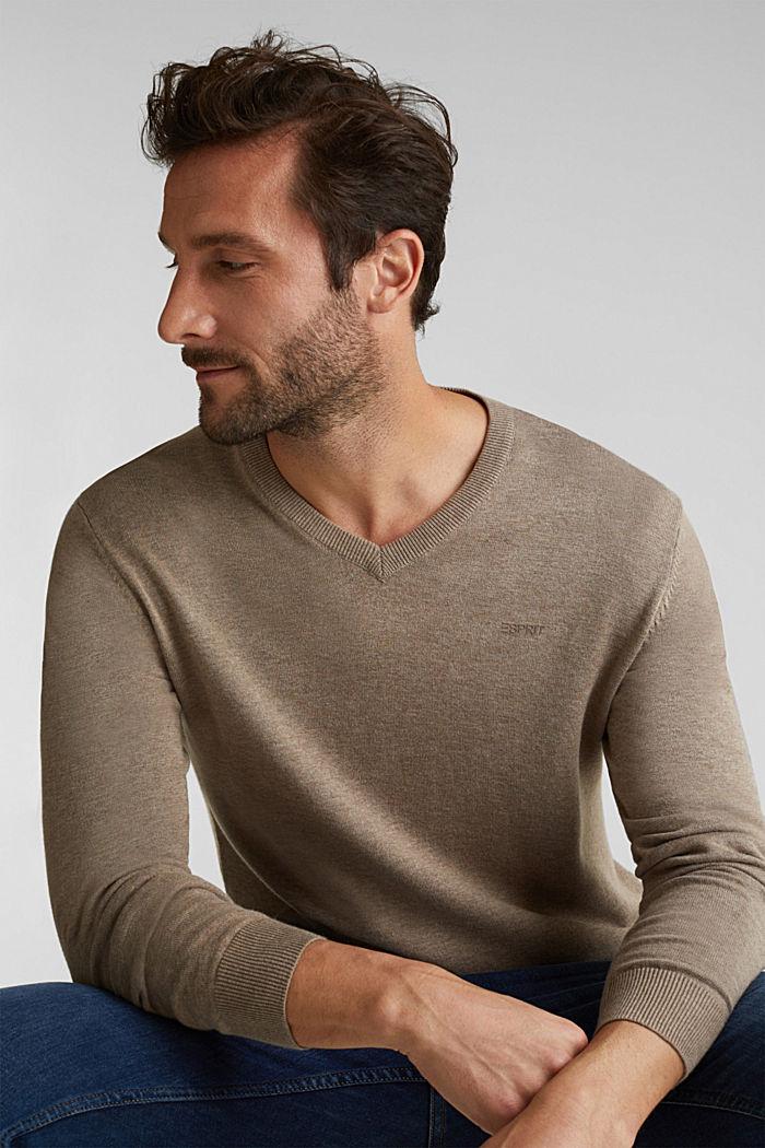 V-Neck-Pullover, 100% Baumwolle, BEIGE, detail image number 0